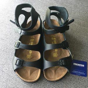 Birkenstock Leather Athen Gladiator Black Sandals